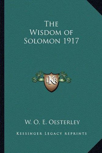 The Wisdom of Solomon 1917
