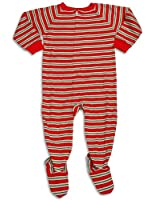 Sara's Prints - Little Boys Long Sleeve One Piece Striped Footed Pajamas