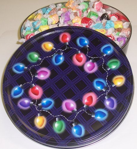 Scott's Cakes Assorted Salt Water Taffy in a Christmas Lights Tin