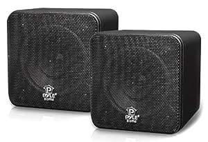 Pyle Home PCB4BK 4-Inch 200-Watt Mini Cube Bookshelf Speaker (Black) (Pair)