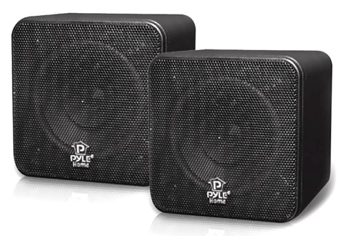 Pyle Home PCB4BK 4-Inch 200-Watt Mini Cube Bookshelf Speaker (Black) (Pair)