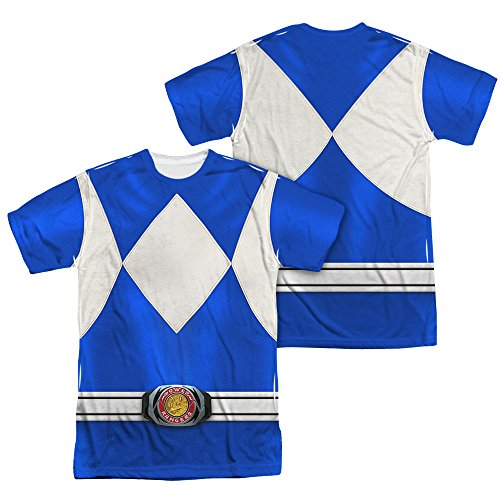 Power Rangers Children's Live Action TV Series Blue Costume Adult 2-Side Print T