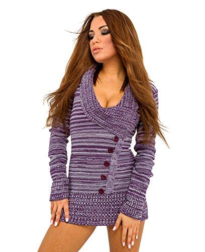 Glamour Empire. Donna Pullover scollo V Lungo maglione manica lunga. 451 (Porpora, 40/42)