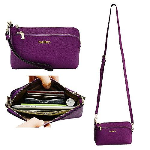 Belfen Genuine Saffiano Leather Wristlet Wallet Clutch Women Smartphone Cross Body Wallet with Card slots/Shoulder strap/Wrist Strap-for Cellphone Up to 6 x 3.1*0.3 Inch -Purple