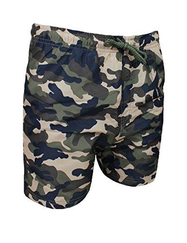 Costume mare uomo mimetico militare verde pantaloncino boxer slim fit shorts bermuda (L)