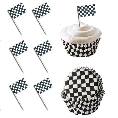 Cake Decorating Checkered Flag : 24 Checkered Racing Flag Cupcake Pick Decorations & 24 ...