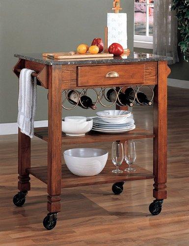 Beautiful Oak Finish Wood Kitchen Serving Cart w/Granite Top & Wine Storage
