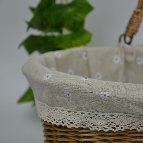 Rurality Vintage Wicker Picnic Basket with Double Folding Handles 4