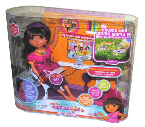 Buy Low Price Mattel Nickelodeon Dora Links 12 Inch Doll with Lights and Sounds – Dora's Explorer Girls with Hairbrush, Bag, Doll Stand and USB Cable to Unlock Dora's Online World on Your Computer Figure (B003P0531I)