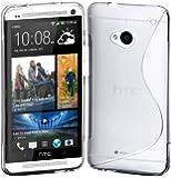 Funda Gel TPU S LINE Semi Transparente HTC ONE M7 801e+Protector Pantalla Transparente