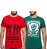 Yo Republic Mens Cotton Tshirt Combo Offer (Pack of 2)(AT-0060-1XL_Red_Green_X-Large)