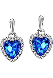 """""""Valentine's Day Gift Ideas"""" Neoglory Jewelry Platinum Plated Charm Ocean Titanic Heart Pendant Necklace with Blue Clear Crystal"""