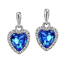 buy Neoglory Blue Ocean Heart Crystal Drop Earrings Rhinestone Platinum Plated Fashion
