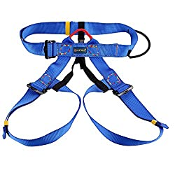 Imported Outdoor Rock Climbing Mountaineering Rappelling Safety Belt Harness - blue