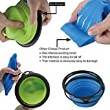 Travel Dog Bowl,Pet Collapsible Food Water Bowls,Traveling Camping Hiking Portable Feeder Dish-With Free Carabiner Belt Clip+Water Bottle Holder-High Quality Improved Version(Blue,1.5 Cup) By Petutu®