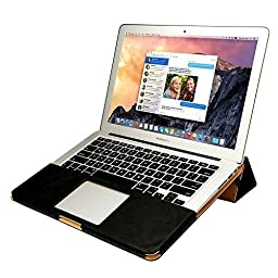 Macbook Air 13 inch Case, Jisoncase One-piece designed Vintage Leather Folio Flip Case Sleeve with Stand Function for Apple Macbook Air 13\