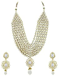 Bridal Jewellery Set Clear Colored Seven Line Drop Shaped Reverse AD Necklace Set