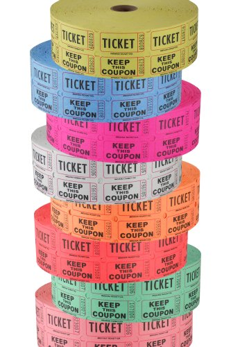 Double Roll Raffle Ticket Tower, '50/50' - Deposit One, Keep One Set of 8 Colors - Includes Designer Deals Custom Raffle Ticket Winners Charts! (Double Raffle Tickets Blue compare prices)