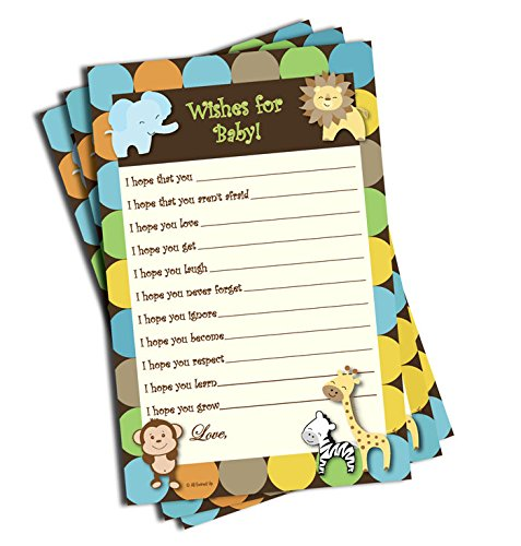 Wishes for Baby - Baby Shower Game - Jungle Themed (50-sheets)