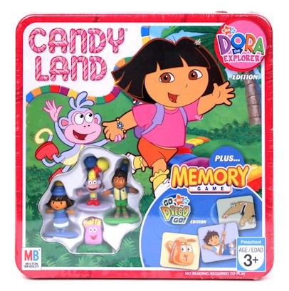 Candy Land Nick Jr. Dora the Explorer Collectors Tin Edition Plus Go Diego Go! Edition Memory Game - 1