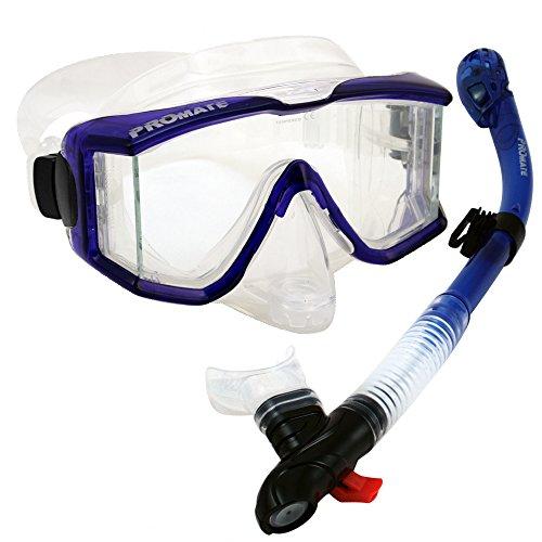 398890, Blue Scuba Dive Edgless PURGE Mask DRY Snorkel Gear Set