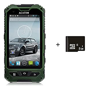 Acatim 4 Inch IP67 Waterproof 3G Rugged Android 4.2 Smartphone 1.2GHz Dual Core Dual SIM Dustproof Shockproof Capacitive screen GPS 5MP-Black +8GB card (Green)