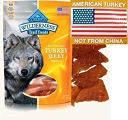 3 Bags - Blue Buffalo Wilderness Turkey Grain Free Dog Jerky Treats - Made in USA