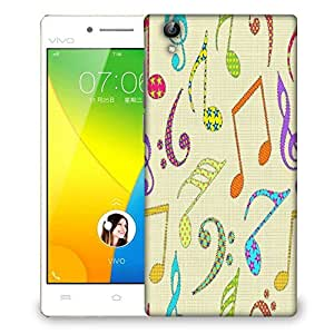 Snoogg Colorful Music Alphabets Designer Protective Phone Back Case Cover For VIVO Y51 L