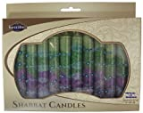 Fancy Jewish Shabbat Candles - Sunrise Green