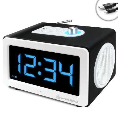 gogroove led alarm clock mp3 stereo 6w speaker sonaverse clk with aux in and usb or sd card port. Black Bedroom Furniture Sets. Home Design Ideas