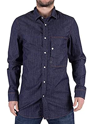 G-Star Men's Stalt Denim Straight Fit Shirt, Blue