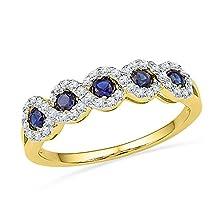 buy Roy Rose Jewelry 1/4-Carat Tw Diamond 1/3-Carat Tw Lab Created Blue Sapphire 10K Gold Ring