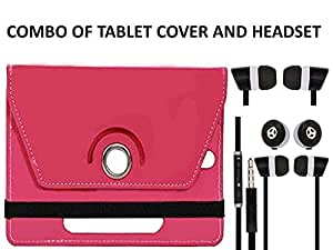 Value Combo Of Pink Tablet Book Flip Case Cover And Black Headset Earphones For Asus Fonepad 7 LTE ME372CL With 3.5mm Jack & Mic