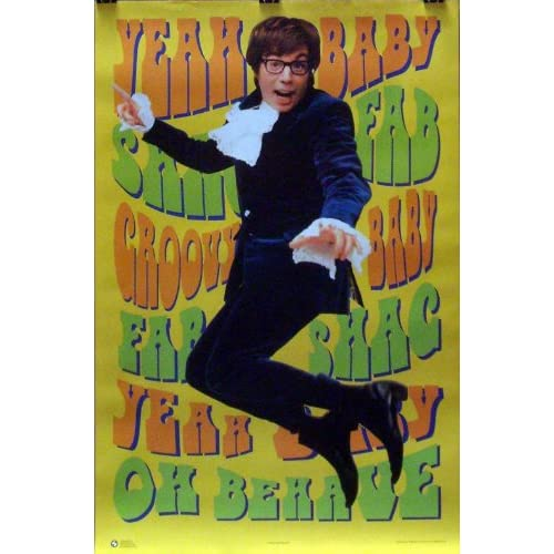 austin powers 23x35 yeah baby movie poster 1998 mike myers