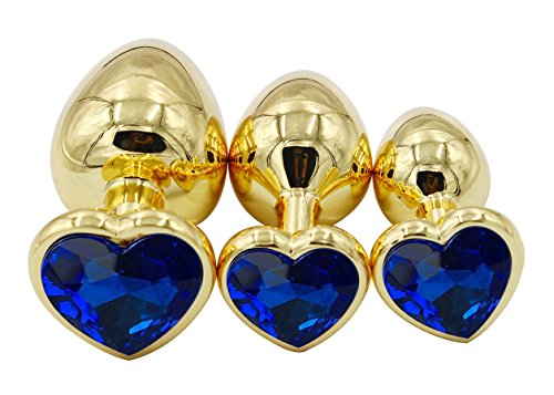 Sexysamba 3pcs Metal-plated Jeweled Anal Plug Butt Kit Couple Sex Pleasure Adult Games Toy,Golden-Blue
