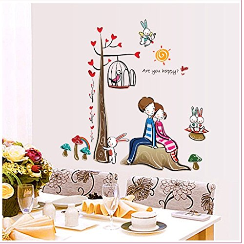 Apexshell (Tm) Hand-Drawn Style Love Couple Series Sitting Under Tree With Cute Rabbit Together Removable High Quality Diy Decorate Wall Decal Sticker Decor For Kids, Home, Nursery Room, For Children'S Bedroom front-554508