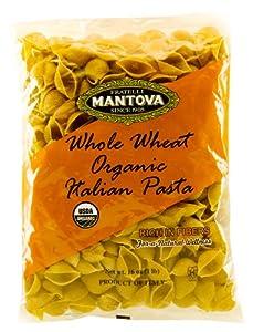 Mantova Italian Organic Whole Wheat Pasta, Shell, 1-Pound Bags (Pack of 12)