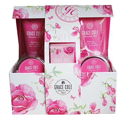 Grace Cole Rosa romantica 6 Pc - Set : Cristalli di bagnoschiuma Body Wash Lotion Soap Puff