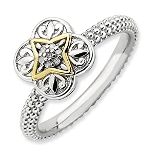 IceCarats Designer Jewelry Size 5 Sterling Silver 14K Stackable Expressions Diamond Ring.