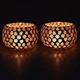 EarthenMetal Handcrafted Golden Beads Decorated Tealight Holder (Candle Light Holder)- Set of 2