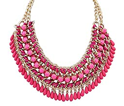 Y&Y Star Bohemia Weave Water Drop Style Chain Multilayer Tribal Bib Choker Necklace,a Perfect Gift for Your Beloved and Your Friends (Water Drop hot pink)