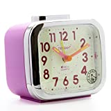 JCC Two Alarm Sound LED Night light Quartz Analog non ticking sweep second hand bedside alarm clock (Purple)
