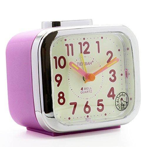 JCC Two Alarm Sound LED Night light Quartz Analog non ticking sweep second hand bedside alarm clock (Purple)