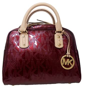 michael kors bordeaux red signature patent leather satchel. Black Bedroom Furniture Sets. Home Design Ideas