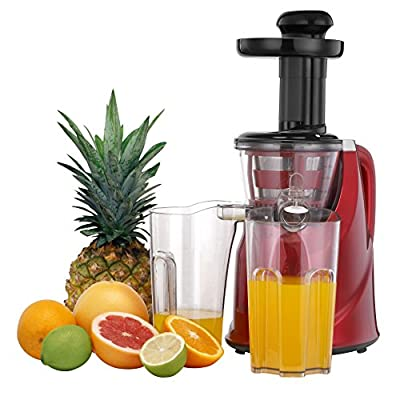 VonShef Professional Slow Fruit Vegetable Masticating Juicer with Quiet 200W Motor for Highly Efficient Juice Extraction - Red