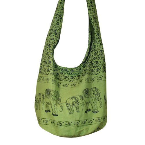 Thai Monk Buddha Cotton Elephant Sling Crossbody Messenger Bag Shlouder Purse Hippie Hobo Color Light Green