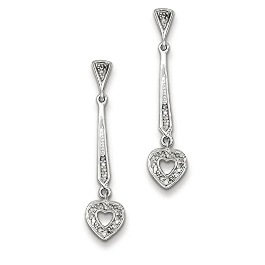 Sterling Silver Diamond Heart Post Dangle Earrings