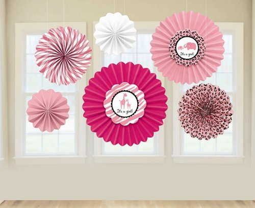 "Amscan Sweet Safari Girl Baby Shower Party Decoration Paper Fan (6 Piece), 13 x 11"", Pink/White/Light Pink - 1"
