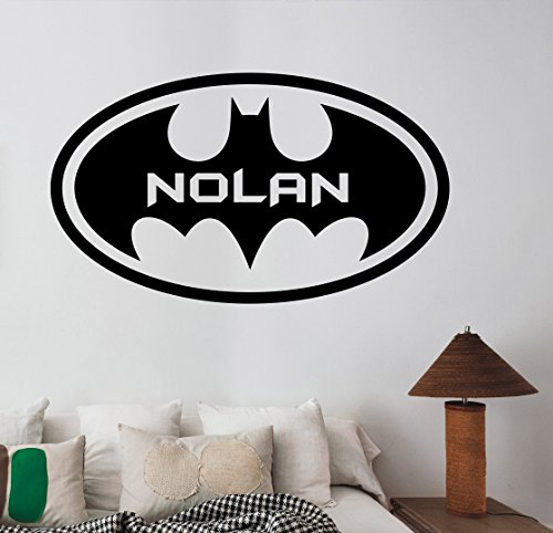 Custom name batman logo wall sticker personalized vinyl for Best brand of paint for kitchen cabinets with marvel comics wall art