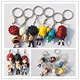 6Pcs Set Hot PVC Keychain Anime Fairy Tail Gift Of PVC Soft Rubber Key Chain